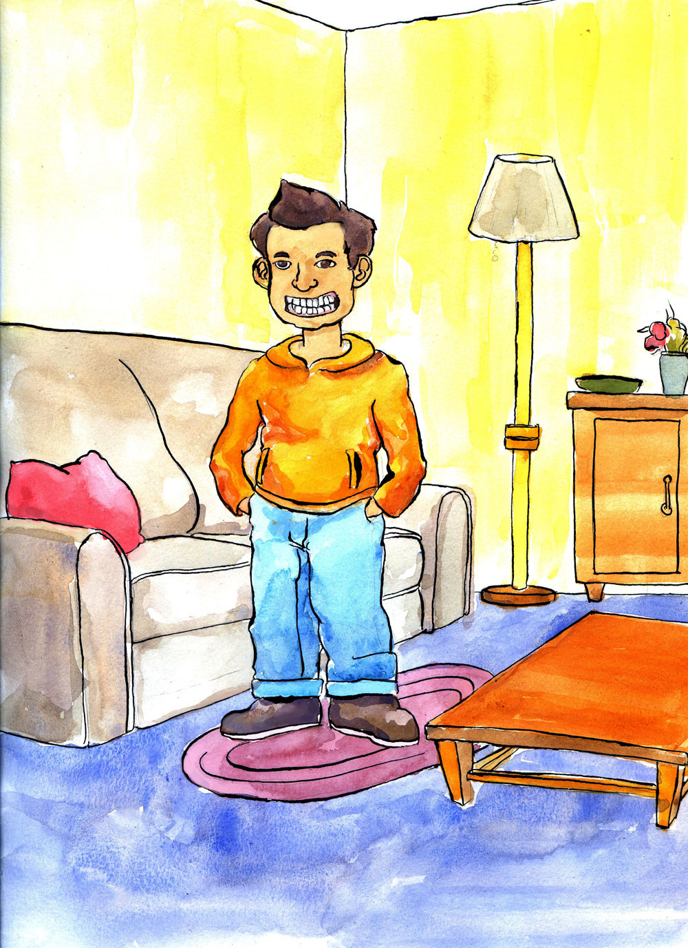 young boy in an orange jacket in living room