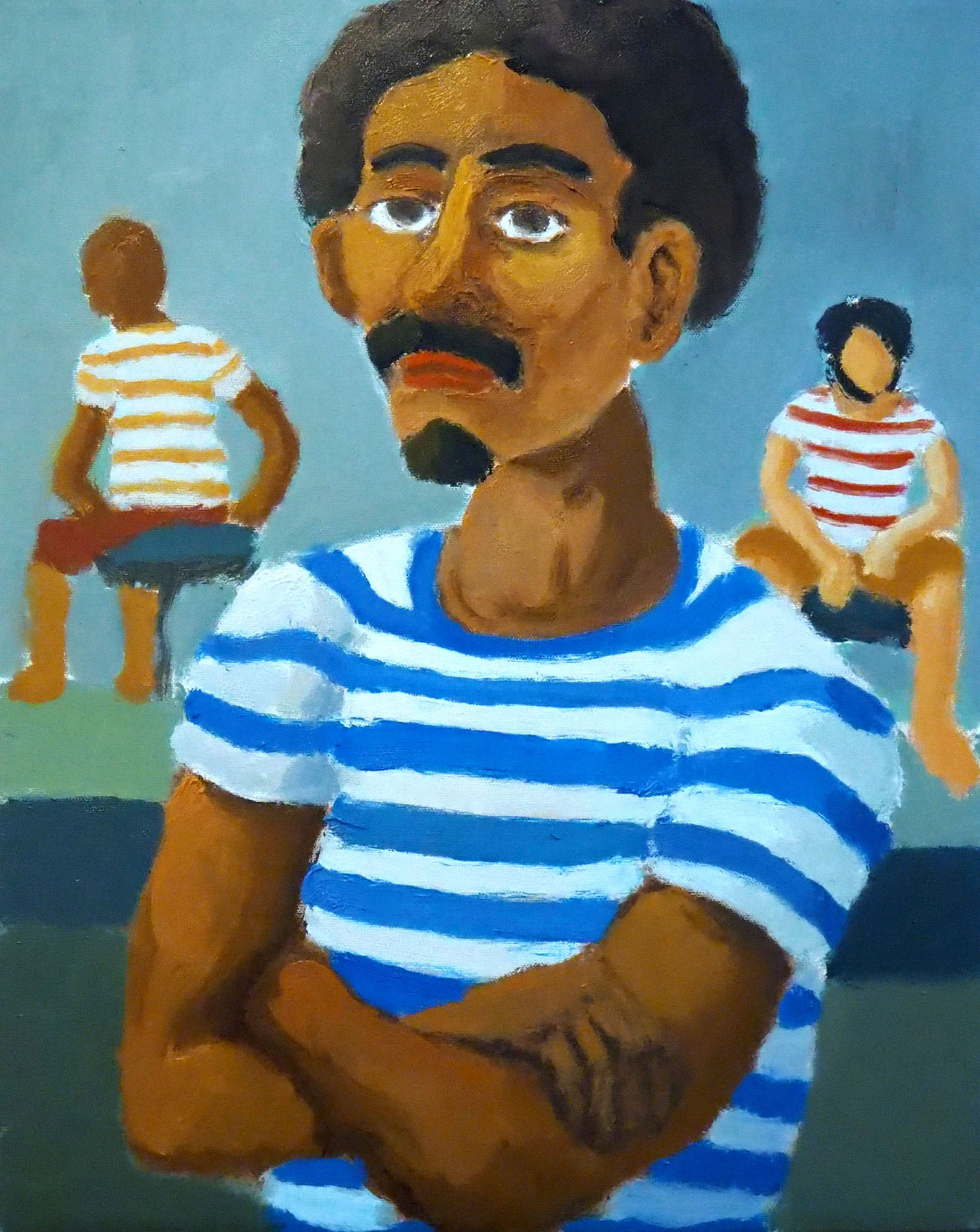 Royce Sebastian Brown-Man in a Striped Shirt Men's Fashion Afro Portrait