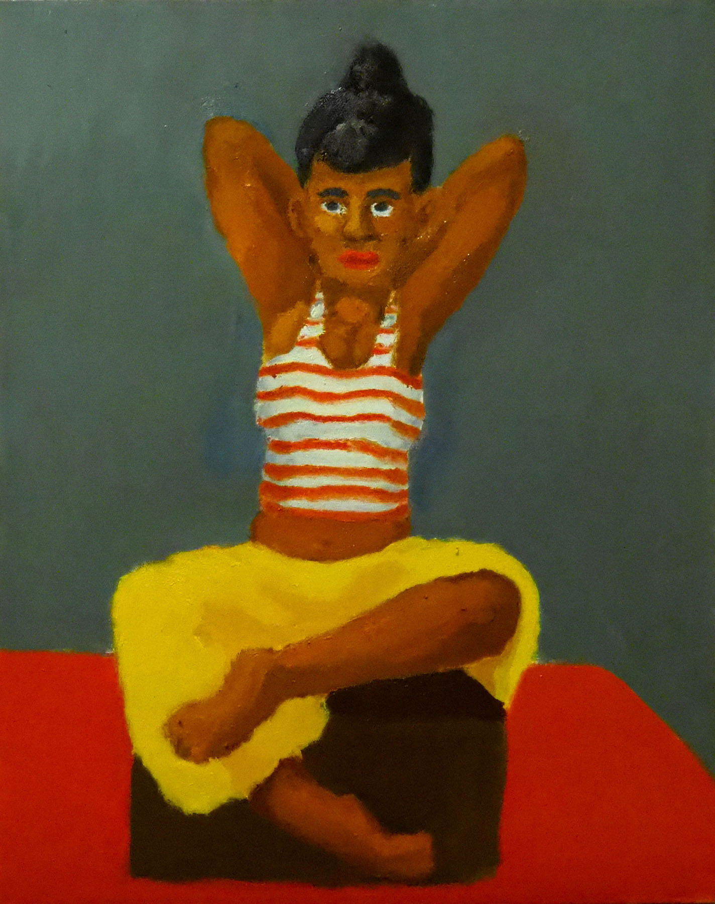 Royce Sebastian Brown-A Seated Muse Woman Striped Shirt Posing Hands over head