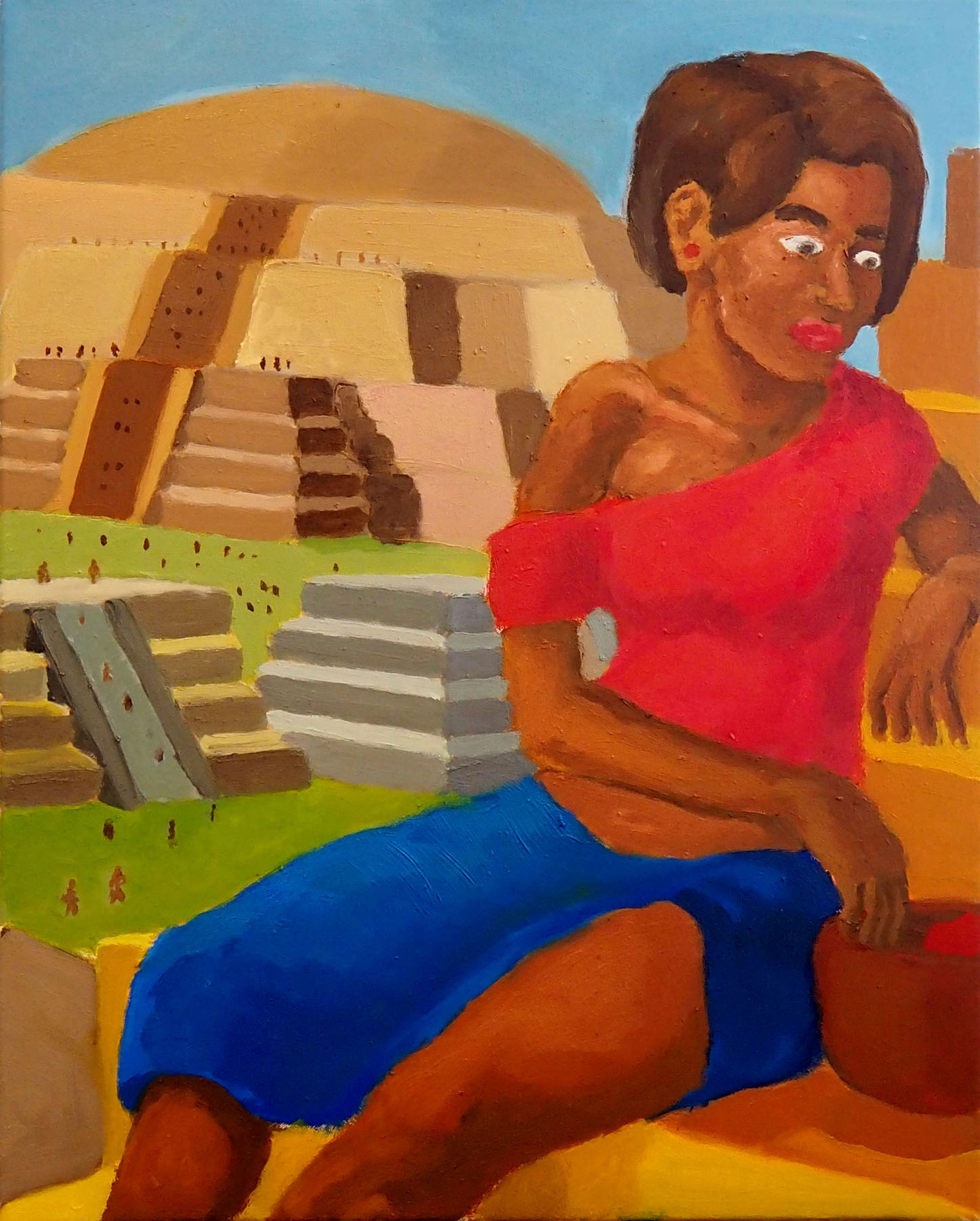 Royce Sebastian Brown Woman on a Staircase Aztec Pyramid Mesoamerican