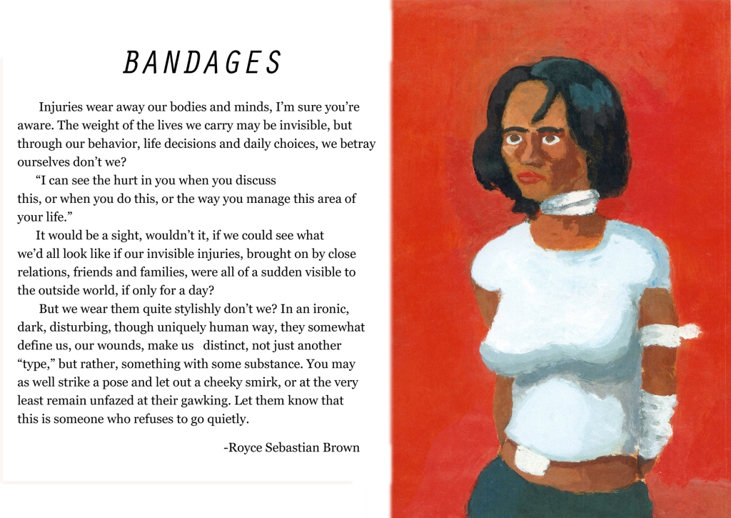 bandaged woman with red background
