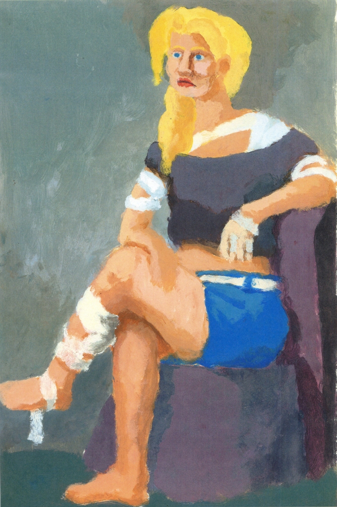 Seated woman with bandages and shorts