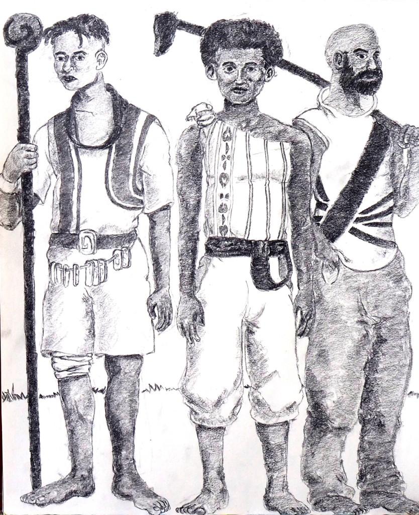 3 men  in mock tribal dress standing shoulder to shoulder